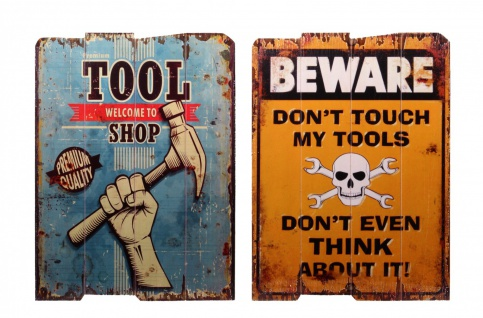 """Set Holzdrucke """" Tool Shop"""" + """" Beware - Don't Touch My Tools"""" im Vintage Look"""