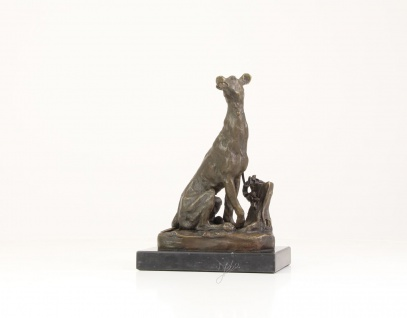 Bronze-Figur GREYHOUND mit Marmorsockel