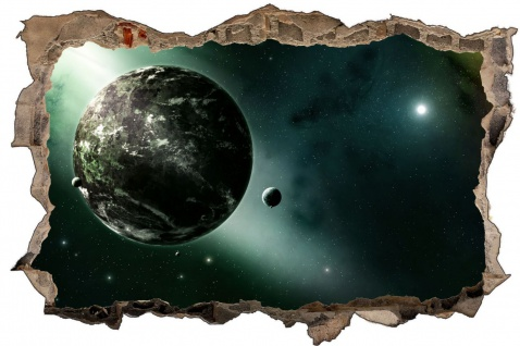 Science Fiction Planet und Mond Wandtattoo Wandsticker Wandaufkleber D1766