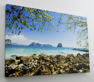 Beach Blue Water Sun Leinwand Canvas Bild Wandbild Kunstdruck L1480