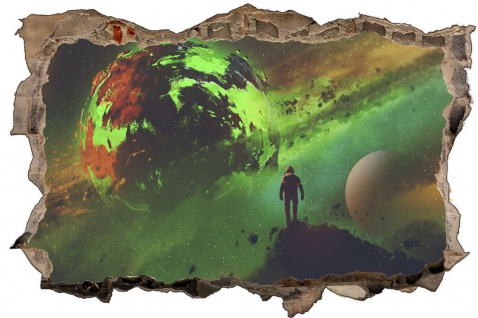 Science Fiction Planet Grün Wandtattoo Wandsticker Wandaufkleber D1961