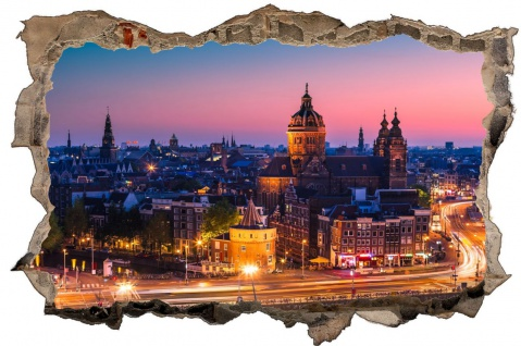 Amsterdam Stadt City by Night Wandtattoo D0751