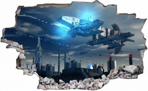 Science Fiction Raumschiff Basis Wandtattoo Wandsticker Wandaufkleber C0526