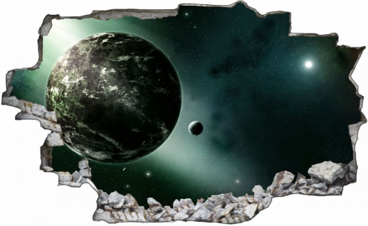 Science Fiction Planet und Mond Wandtattoo Wandsticker Wandaufkleber C1766
