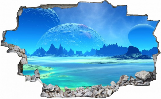 Science Fiction Blauer Planet Mond Wandtattoo Wandsticker Wandaufkleber C1764