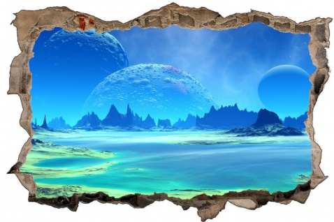 Science Fiction Blauer Planet Mond Wandtattoo Wandsticker Wandaufkleber D1764