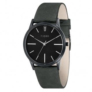 Fjord Uhren in Zwickau: Herrenuhr schwarz Lederband grün 927001418