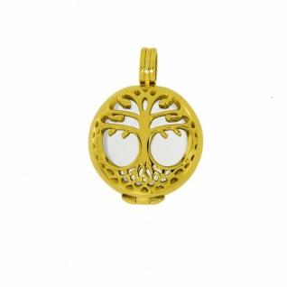 Aura A03SGO Anhänger Lebensbaum rund Edelstahl IP gold, 2 cm