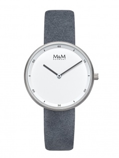 M&M Uhren in Zwickau: Damenuhr Lederband grau Circle Line Minutes M11955-923