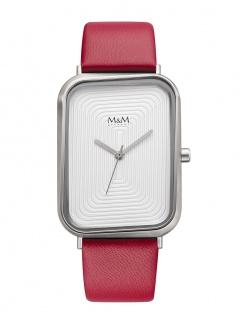 M&M Uhren in Zwickau: Armbanduhr Lederband rot M11947-627, Square Line dancin...