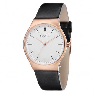 Fjord Uhren in Zwickau: Armbanduhr IP rosè Lederband schwarz 927001717