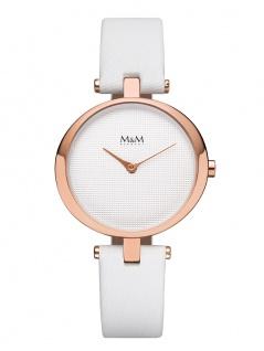 M&M Uhren in Zwickau: Damenuhr rosè Satin-Band weiß M11931-791, Ring O