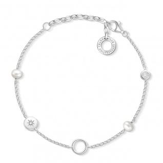 "Thomas Sabo Charm Armband Silber "" Perlen"" X0273-167-14-L19v"