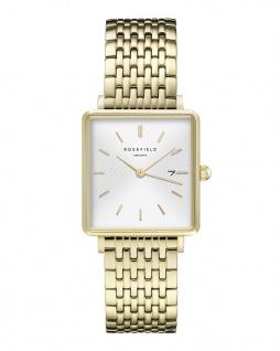 Rosefield Uhren in Zwickau: Damenuhr The Boxy White Sunray Steel Gold QWSG-Q09