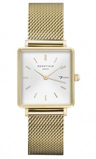 Rosefield Uhren in Zwickau: Damenuhr The Boxy White Sunray Mesh Gold QWSG-Q03
