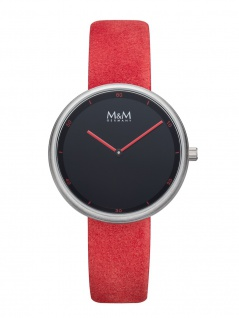 M&M Uhren in Zwickau: Damenuhr Lederband rot Circle Line Minutes M11955-726