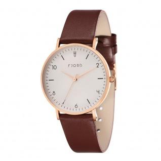 Fjord Uhren in Zwickau: Damenuhr rosè Lederband braun 927001217