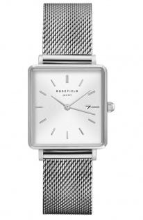 Rosefield Uhren in Zwickau: Damenuhr The Boxy White Sunray Mesh Silver QWSS-Q02