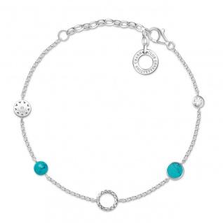 "Thomas Sabo Charm Armband "" Türkise Steine"" Silber X0271-646-7-L19v"