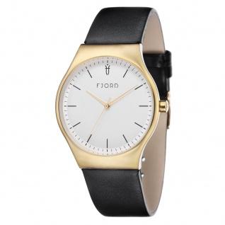 Fjord Uhren in Zwickau: Armbanduhr IP Gold, Lederband schwarz 927001716