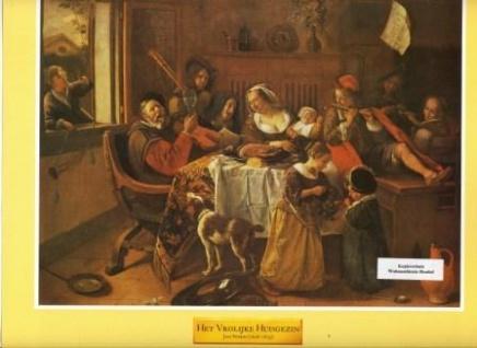 WOHNAMBIENTE Art.-Nr.: 88 Druck nach einem Gemälde von Jan Steen (1626 - 1679) aus Art & Decor, Serie 603. Blattgröße 30, 5 x 25, 3 cm, Bildgröße 25, 9 x 19, 4 cm.