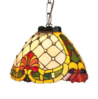WOHNAMBIENTE Tiffany-Lampe, Hängelampe Art.-Nr.: Y 14253 + C Schirm d= 21 x 34 cm, Aufhängung 60 cm, Fassung 1 x E27.