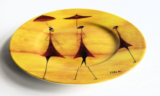 "WOHNAMBIENTE Porzellan, Geschirr Art.-Nr.: O 120 Dessertteller ""Fourmies a l' ombrelle"" von Ona Maße: d= 21, 5 cm."