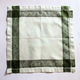 WOHNAMBIENTE Art.-Nr.: 3er-Set 475, Mitteldecke, 45 x 45 cm, 100% Reines Leinen, Jacquard-Gewebe mit Hohlsaum Design: Vernisage, Farbe: Green.