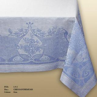 WOHNAMBIENTE Art.-Nr.: 192, Tischdecke, 178 x 274 cm, 100% Reines Leinen, Jacquard-Gewebe mit Hohlsaum, Design: Chrysanthemum, Farbe: Blue.