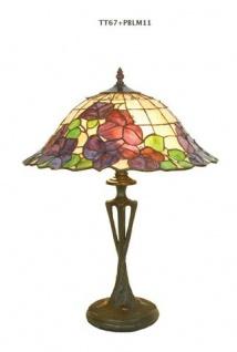 WOHNAMBIENTE Tiffany Tischlampe Art.-Nr.: TT 67 + PBLM 11 Schirm d= 40 cm, Leuchtenhöhe 59 cm, Fassung 2 x E27