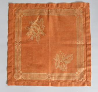 WOHNAMBIENTE 3er-Set Art.-Nr.: 427, Mitteldecke, 45 x 45 cm, 100% Reines Leinen, Jacquard-Gewebe mit Hohlsaum, Design: Natali, Farbe: Orange-Yellow.