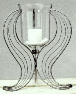 WOHNAMBIENTE Kerzenständer, Kerzenhalter Art.-Nr.: 49195 Korsika II, Deko-Glas. Maße: Gesamthöhe bis Oberkante Glas 37 cm, Glas d max.:16 cm, Fußfläche am Boden ca. d= 30 cm.