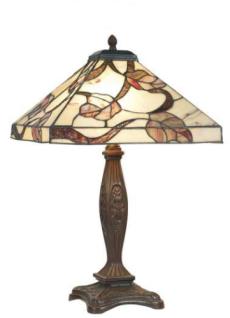 WOHNAMBIENTE Tiffany Tischlampe Art.-Nr.: Y 14204 + P 146 Schirm d= 36 x 36 xm, Leuchtenhöhe 60 cm, Fassung 2 x E27.