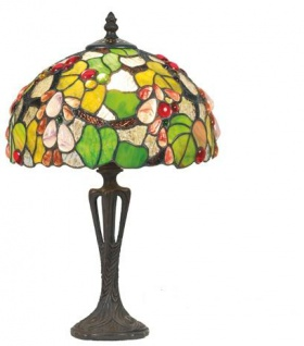 WOHNAMBIENTE Tiffany Tischlampe Art.-Nr.: Y 10568 + PBLM 11 S Schirm d= 25 cm, Leuchtenhöhe 41 cm, Fassung 1 x E27