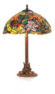 WOHNAMBIENTE Tiffany Tischlampe Art.-Nr.: KT 2753 + P 1257 Maße d= 40 cm, Leuchtenhöhe 61 cm, Fassung 2 x E27.