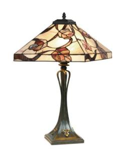 WOHNAMBIENTE Tiffany Tischlampe Art.-Nr.: Y 14204 + P 10273 Schirm d= 36 x 36 cm, Leuchtenhöhe 62 cm, Fassung 2 x E27.