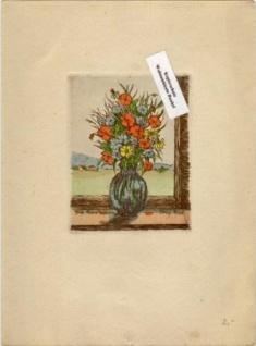 WOHNAMBIENTE Original-Radierung, koloriert, signiert Fritz Hartmann, Bildgröße 7, 3 x 9, 5 cm Blattgröße 15, 3 x 20, 5 cm.