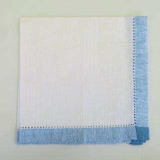 WOHNAMBIENTE 4rer-Set Art.-Nr.: 4120, Mitteldecke, 45 x 45 cm, 100% Reines Leinen, Jacquard-Gewebe mit Hohlsaum, Design: Atlas, Farbe: White-Blue.