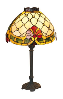 WOHNAMBIENTE Tiffany Tischlampe Art.-Nr.: Y 14253 + P 5405 1 AS Schirm d= 21 x 34 cm (oval), Leuchtenhöhe 48 cm, Fassung 1 x E27,