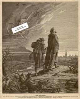 WOHNAMBIENTE Art.-Nr.: ST 53 Druckgrafik, vermutlich aus 'Das Buch für Alle' von 1958. Aus: Goethe's Faust. Erster Teil. Prachtausgabe in Folioformat mit 16 Hauptbildern in Photographien und ca. 80 Holzschnitt-Illustrationen von A. v. Kreling, Director de