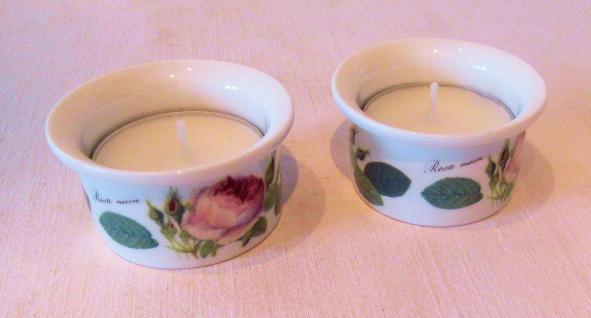 WOHNAMBIENTE Porzellan, Geschirr Art.-Nr.: 923 Teelicht-Halter, komplett mit Teelicht. Maße: d= 5 cm, h= 2, 5 cm. Lieferung im 2er-Pack