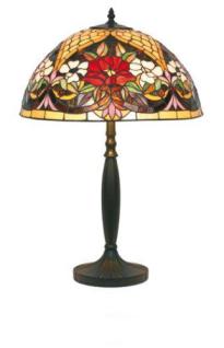 WOHNAMBIENTE Tiffany Tischlampe Art.-Nr.: YT 25 + YT 21 P Schirm d= 40 cm, Leuchtenhöhe 62 cm, Fassung 2 x E27
