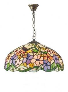 WOHNAMBIENTE Tiffany-Lampe Art.-Nr.: 161564 + C2 Schirm d= 40 cm, Kettenlänge incl. Baldachin 60 cm, Fassung 2 x E27.