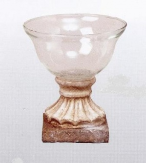 WOHNAMBIENTE Vase mit Keramikfuß Art.-Nr.: 61301 Maße: Sockelplatte 9, 0 x 9, 0 cm, Gesamthöhe 15, 5 cm, d max.= 14 cm