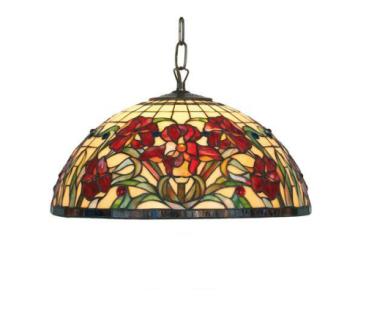 WOHNAMBIENTE Tiffany-Lampe, Hängelampe Art.-Nr.: YT 18 + C2 Schirm d= 40 cm, Kettenlänge incl. Baldachin 60 cm, Fassung 2 x E27