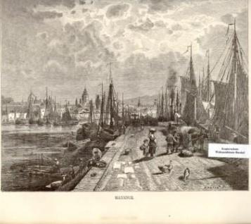 WOHNAMBIENTE Art.-Nr.: ST 17 Darstellung des Mainzer Hafens um 1800. Signatur unten rechts unleserlich. Blattmaße: 35x 25 cm, Bild: 23, 5 x 19 cm (BxH).