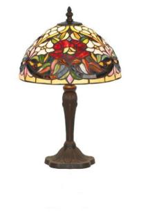 WOHNAMBIENTE Tiffany Tischlampe Art.-Nr.: YT 27 + P 2080 Schirm d= 25 cm, Leuchtenhöhe 40 cm, Fassung 1 x E14