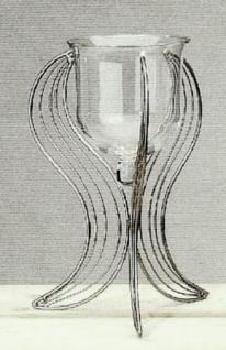 WOHNAMBIENTE Kerzenständer, Kerzenhalter Art.-Nr.: 49194 Korsika I, Deko-Glas. Maße: Gesamthöhe bis Oberkante Glas 50 cm, Glas d =max.:19 cm, Fußfläche am Boden ca. d= 50 cm.