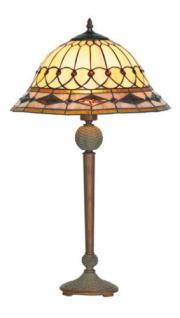 WOHNAMBIENTE Tiffany Tischlampe Art.-Nr.: SP 16007 + P 5405 1A Schirm d= 40 cm, Leuchtenhöhe 66 cm, Fassung 2 x E27.