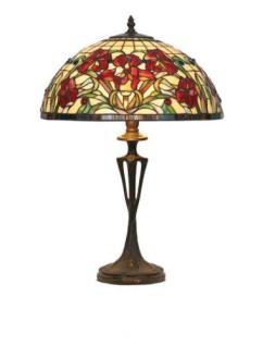 WOHNAMBIENTE Tiffany Tischlampe Art.-Nr.: YT 18 + PBLM 11 Schirm d= 40 cm, Leuchtenhöhe 59 cm, Fassung 2 x E27